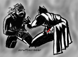Solid Snake vs Dark Knight request by ScruffyScribbler