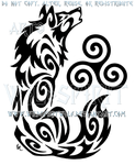 Howling Triskele Wolf Tribal Design by WildSpiritWolf