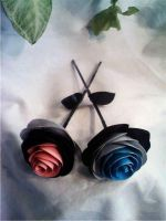 Blue and Pink Duct Tape Roses by SilenceWriter