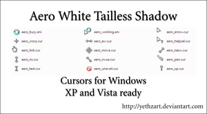 Aero White Tailless Cursors by yethzart