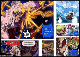 One Piece 723 Sanji confronts Doflamingo colored by Theahj90