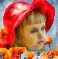 Little Girl With Poppies by AliaChek