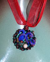 Blue and red spotted octopus bottle cap necklace by SuperFlashDance