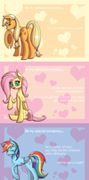 Valentine's Cards Set One: Main Ponies by DeusExEquus