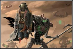 Necron lord and commissar by Hokunin