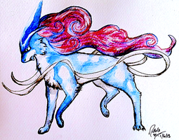 Suicune Watercolour by AmethystCreatures