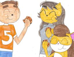 Gift: Evelyn, Cal and I eat chocolate chip cookies by Magic-Kristina-KW