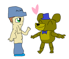 Golden Freddy x Mike by BlushingMidnightRose