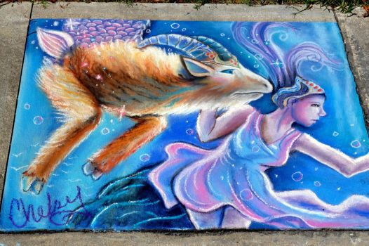 Starry Capricorn - Chalk by chels-poo