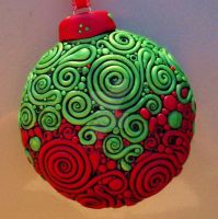 Red Green Filigree Ornament 2 by MandarinMoon