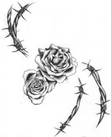 barbwire and roses by DarthHoney