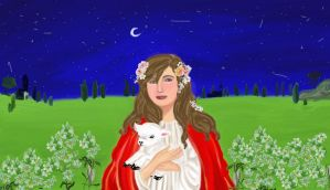 St. Agnes and the Little Lamb by anelphia