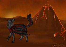 Volcano, lava and a Youkou by tailfeather