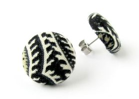 Small stud earrings - black ivory gold tiny by KooKooCraft