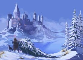 Winter Hogwarts by kissyushka
