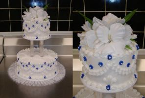 rhapsody of blue wedding cake by ayarel