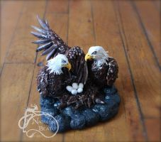 Mommy and Daddy Eagle Sculpture by NadilynBeato