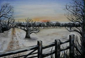 winter morning painting by gzertkl