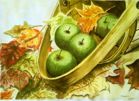 Fall Leaves and Apples Basket by Shabriri-Lin