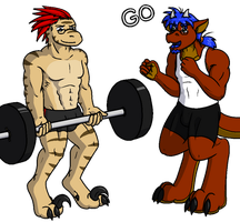Infinite Barbell Curls('14 B-Day Gift #1 for Immy) by QuetzaDrake
