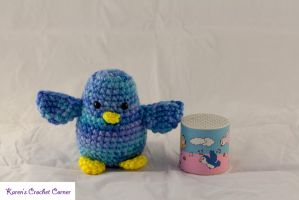 Amigurumi Chirping Bird - Multicolored Blue by karenscrochetcorner