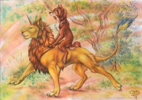 lets go for a lion ride by Bluari