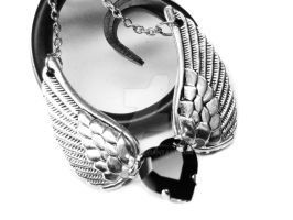Angel Wing Black Heart Necklace by pila12903