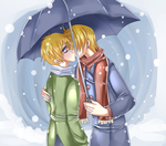 kiss in the snow by PinkAngelChao