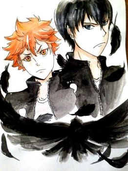 Hinata and Kageyama ~ Coloured by JaZzCaSt