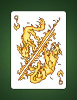 9 of Hearts aka 9 of fire by LineDetail