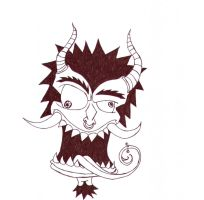 japanese demon face 2 by eatingconcrete