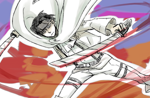 Rivaille fighting by hyokka
