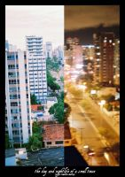 day and night of a small town by Menge