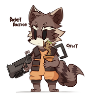 Rocket Raccoon and Groot by MACKINN7