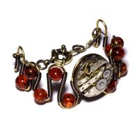 Steampunk - Bracelet with Amber and watch movement by CatherinetteRings