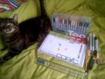 100th UPLOAD  My art supply's with my cat XD by nial09