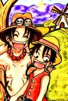 Ace and Luffy by TaSaMaBi