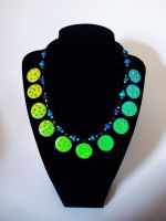 Small Round Blue Green Polka dot Necklace by Laurenry