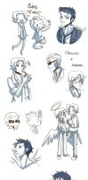 SPN and Good Omens sketchdump by Yuko-Moony