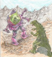 Mecha-man vs Mini-Godzilla by greystrangebear