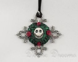 Welcome to My Nightmare Skull Pendant by DeidreDreams