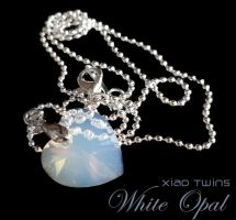 SOLD - Swarovski White Opal Heart Crystal Necklace by crystaland