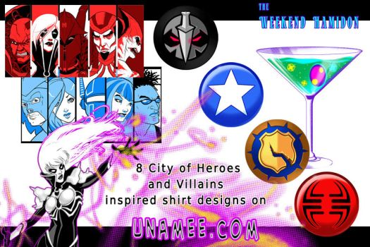 City of Heroes Shirts on unamee again! by syrusbLiz