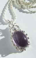 Amethyst in Silver Beaded Prong Wrap by SRTolton