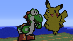 Yoshi and Pikachu - Minecraft by Shiron95