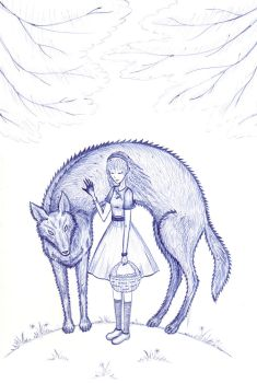 Red Riding Hood and Wolf by Xotary