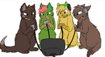 Tobuscus, Olivia, PewDiePie and Yamimash by CascadingSerenity