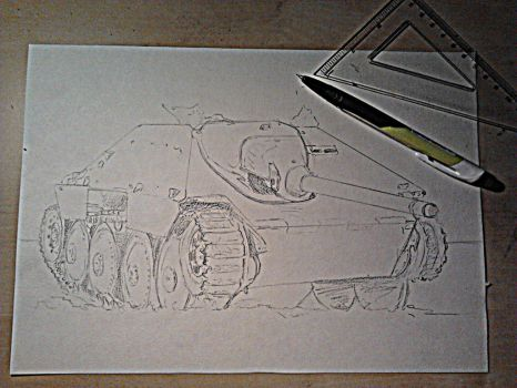 Destroyed Jagdpanzer 38(t) - crude scetch by Cune