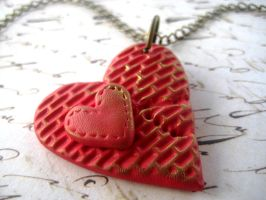 Broken Brick Heart Necklace by RoyalKitness