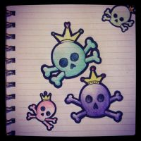 Colored Bubbly Skulls by TwiggyBot